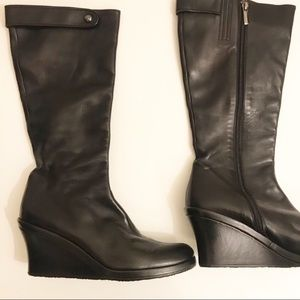 Taryn Rose black leather wedge boots